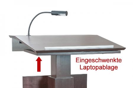 eingeschwenkte Laptopablage an Rednerpult Morsum - seitliche Rückansicht