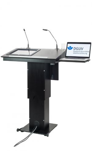 Rednerpult mit Monitor ZÜRICH Laptopablage ausgefahren