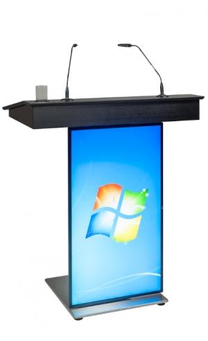 Rednerpult WIEN mit Frontscreen seitliche Frontalansicht